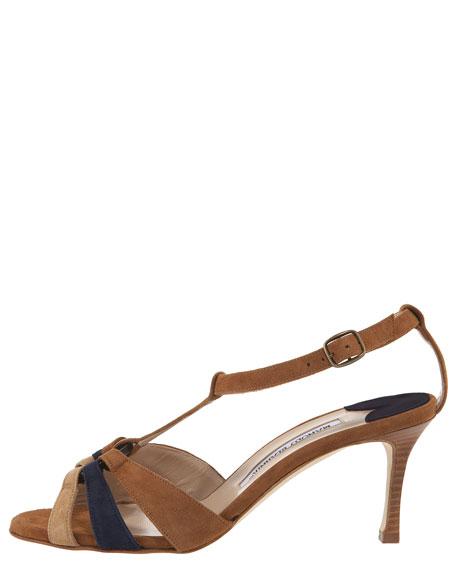 Petin Colorblock Suede T-Strap Sandal