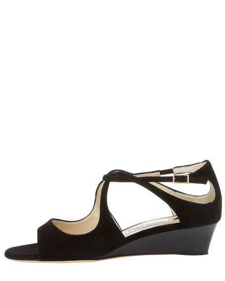 Vida Cutout Suede Low-Wedge Sandal