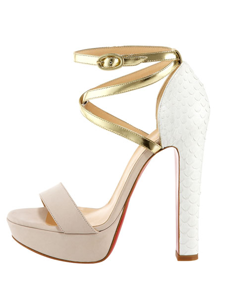 Summerissima Crisscross Platform Red Sole Sandal, Gold/White