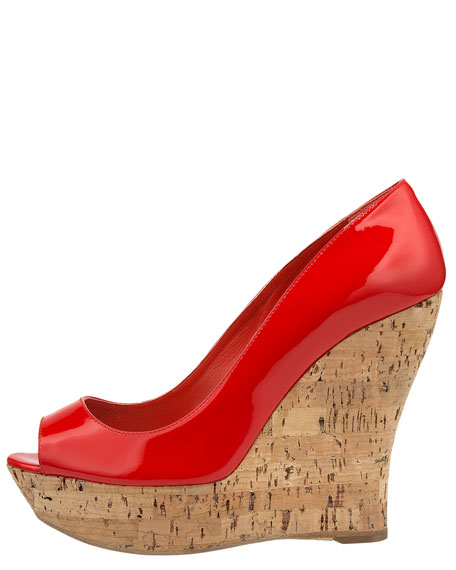 Open-Toe Cork-Wedge Pump