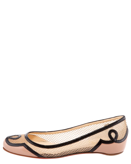 Lady Bombay Red Sole Flat, Nude/Black