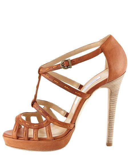 Topstitched-Strap Sandal