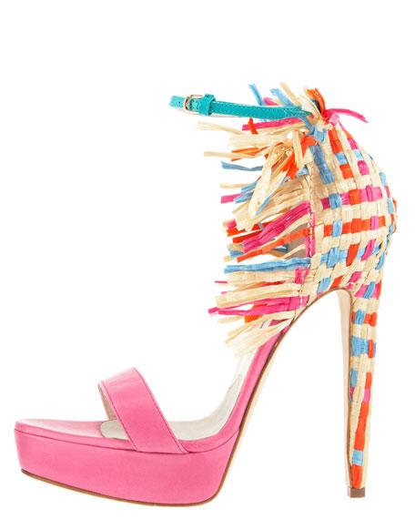 Raffia-Heel Colorblock d'Orsay Sandal
