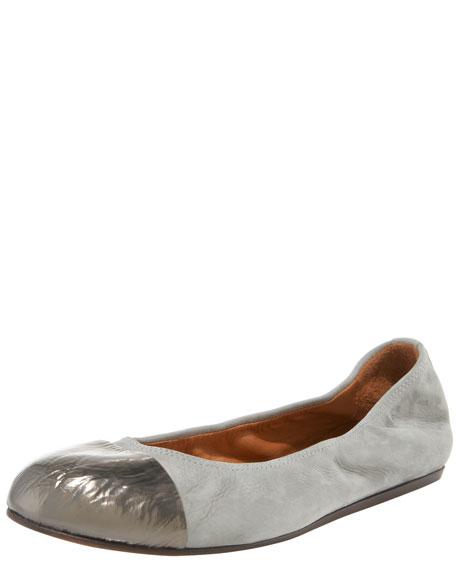 Metallic-Capped Suede Ballerina Flat