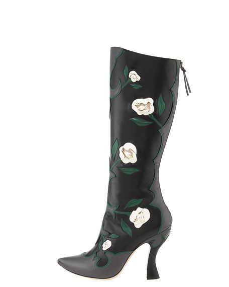 Tall Feather Rose Applique Boot