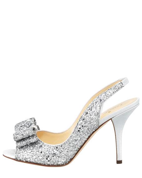 charm glitter slingback pump