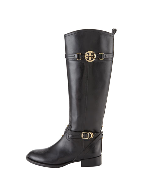 Calista Logo Leather Riding Boot, Black
