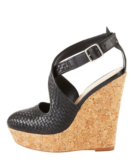 Lucie Woven Leather Cork Wedge