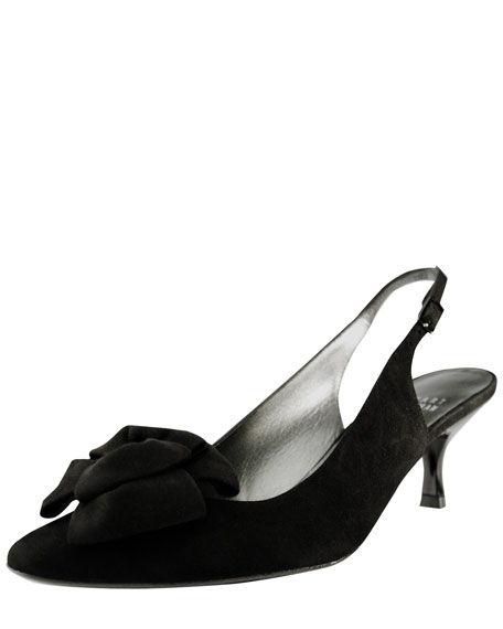 Boalimid Kitten-Heel Slingback with Bow Detail