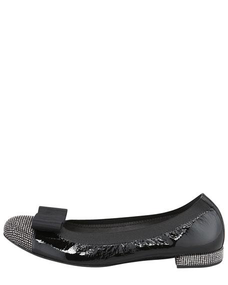Cabot Studded Toe Bow Ballerina Flat, Black