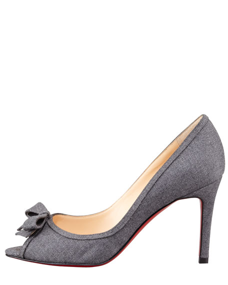 Milady Flannel Peep-Toe Red Sole Pump
