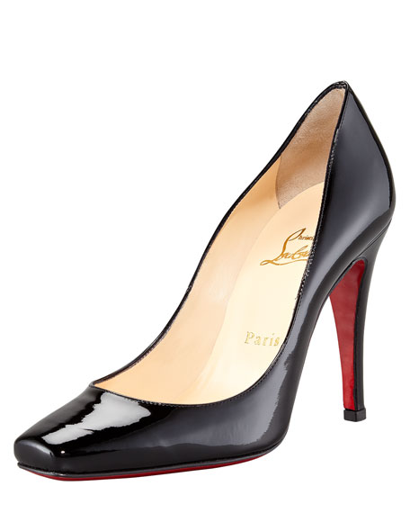 Particule Patent Pointed Red Sole Pump