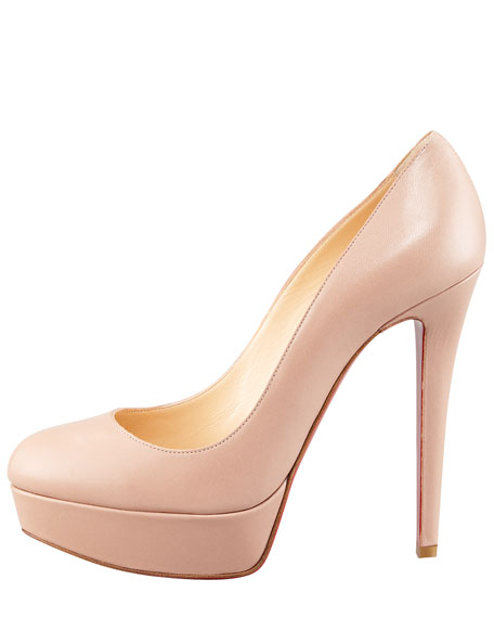 Bianca Platform Red Sole Pump, Nude