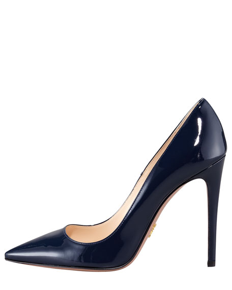 Pointed Patent Leather Pump, Navy