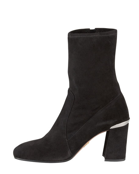 Stretch Suede Square-Toe Ankle Boot