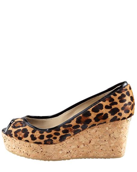 Purdey Leopard-Print Calf Hair Cork Wedge