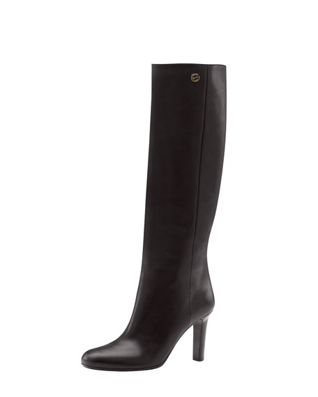 Pull-On Leather High-Heel Boot