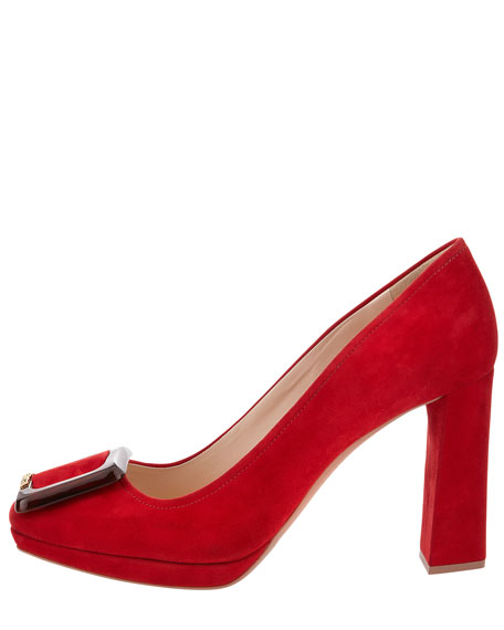 Suede Square-Toe Buckle Pump