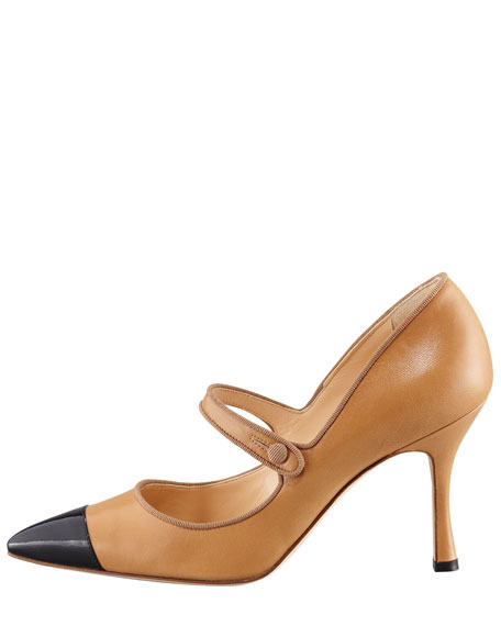 Camparicap Leather/Patent Cap-Toe Mary Jane