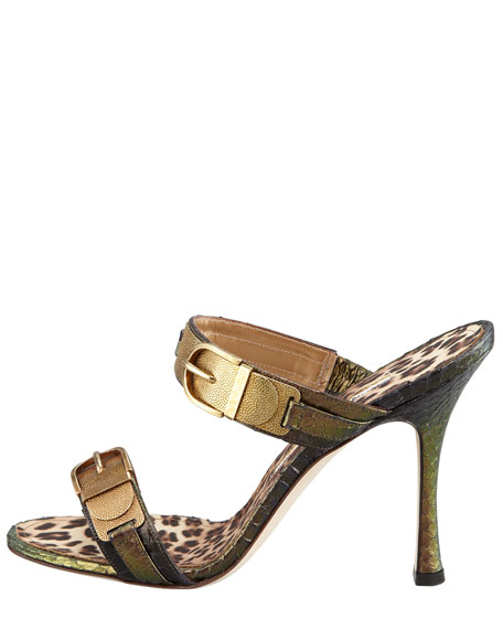 Metallic Snakeskin Double-Buckle Slide