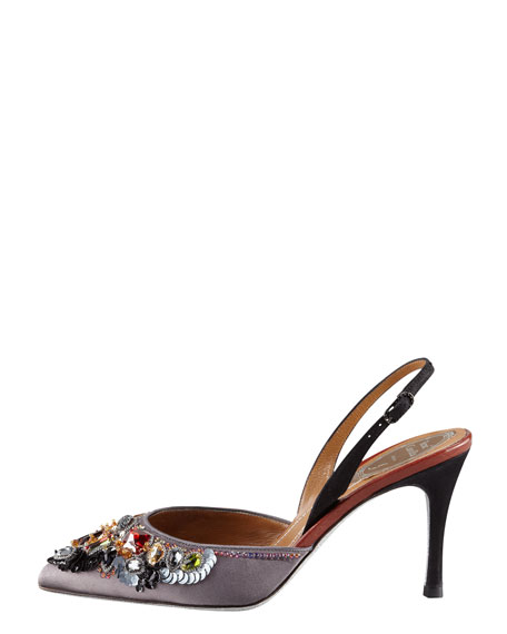 Jeweled Slingback Pump