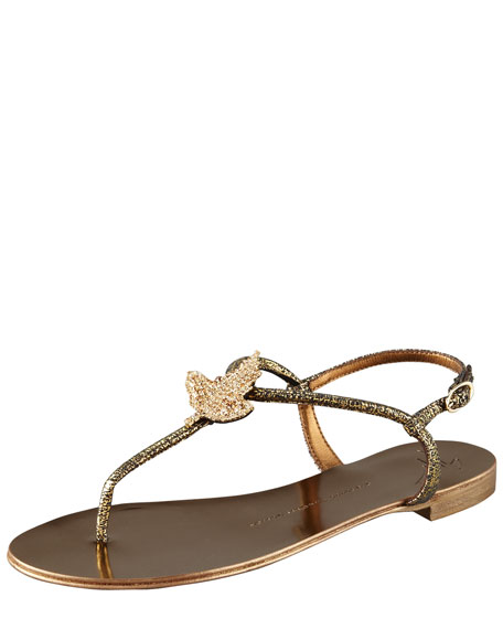 Crystal T-Strap Thong Sandal