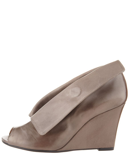 Peep-Toe Wedge Bootie