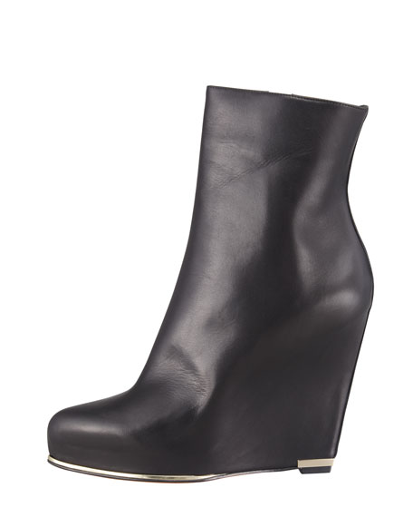 Leather Wedge Ankle Boot