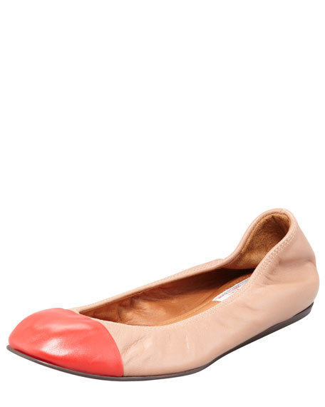 Cap-Toe Scrunched Lambskin Ballerina Flat