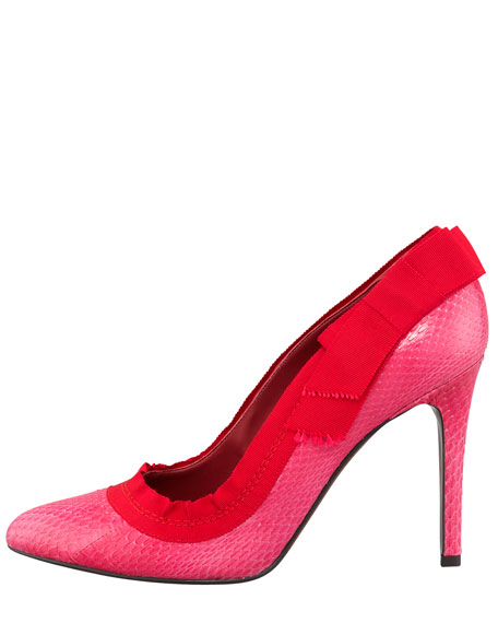 Grosgrain-Trim Snakeskin Pump