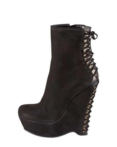 Lace-Up Heel Wedge Bootie