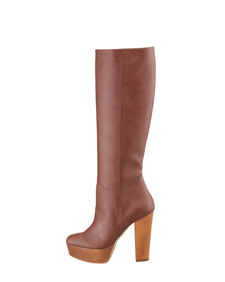 Wood-Platform Faux Leather Knee Boot