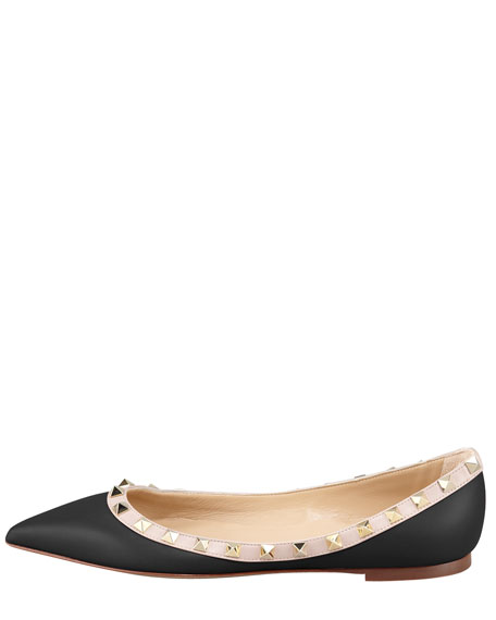 Rockstud Leather Ballerina Flat, Black