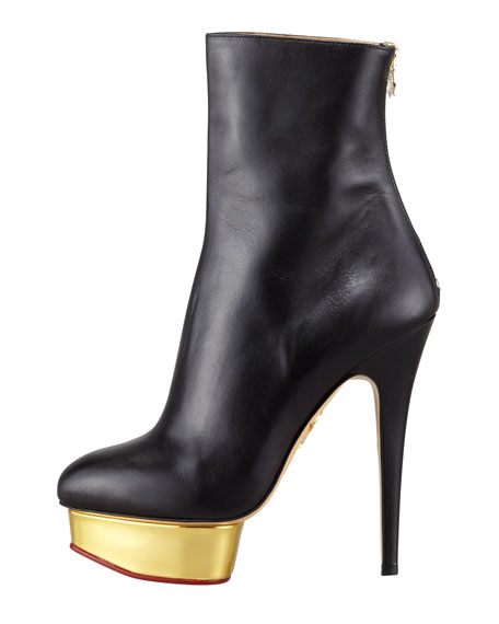 Lucinda Golden Platform Ankle Boot