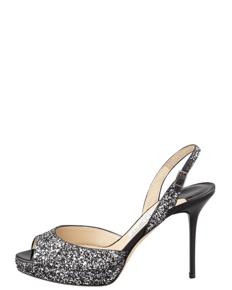 Brandy Glittered Peep-Toe Sandal