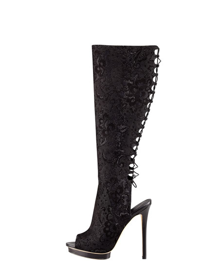 Charlette Lace-Back Peep-Toe Boot