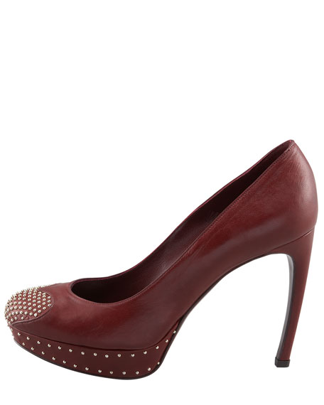 Studded Heart-Toe Platform Pump