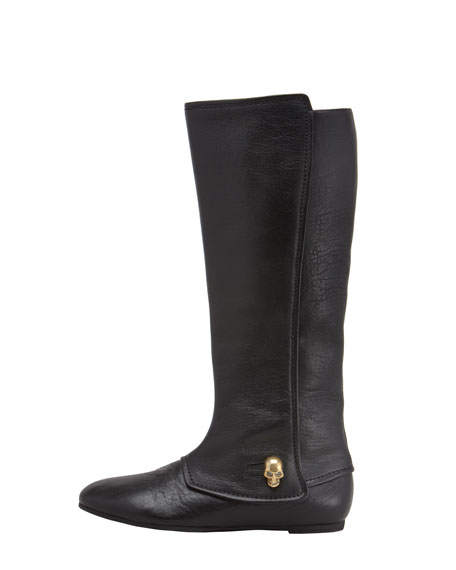 Skull-Button Flat Boot