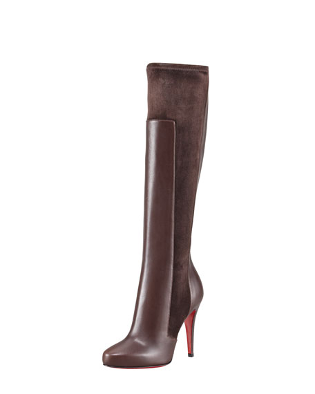 YSA Mixed-Media Tall Red Sole Boot