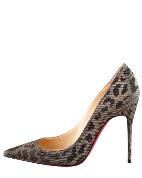 Decollette Leopard-Print Beaded Red Sole Pump
