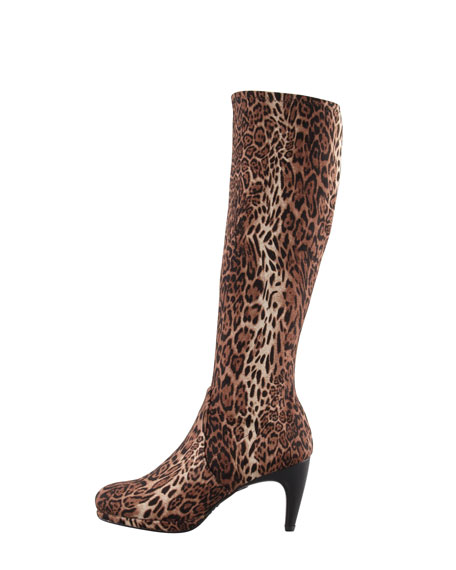 Jefe Stretch Leopard-Print Knee Boot
