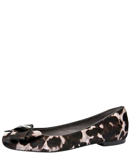 Showtune Leopard-Print Calf Hair Ballerina Flat