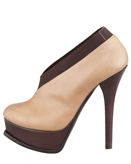 Fendista Leather Faux-Wrap Bootie