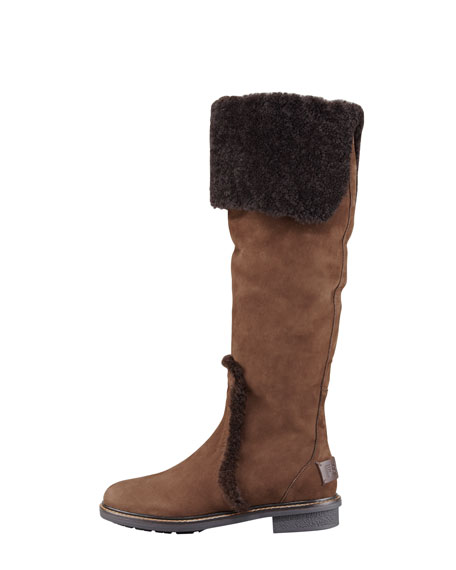 Shearling-Lined Nubuck Leather Boot
