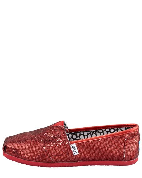Glitter Flat Slip-On, Red