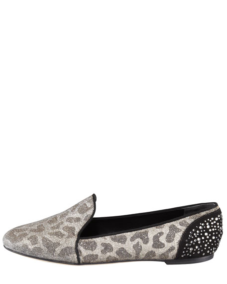 Metallic Leopard-Print Smoking Slipper