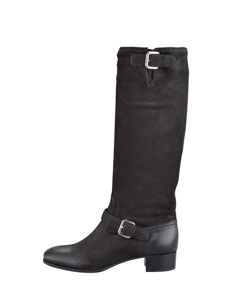 Leather Double-Buckle Boot