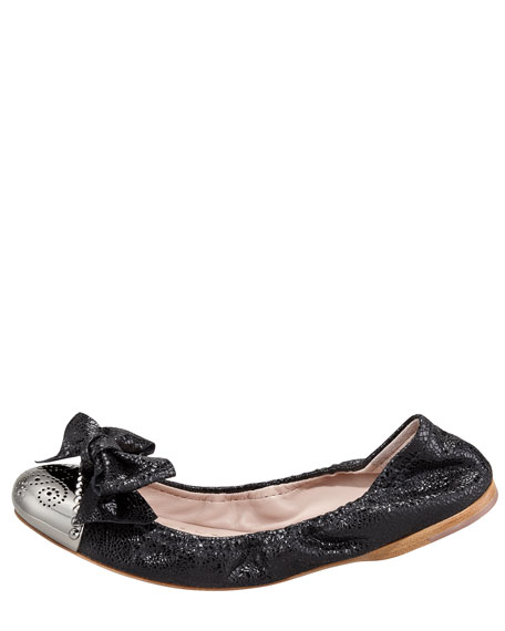 Bow-Toe Crackle Ballerina Flat