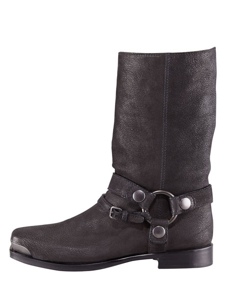 Distressed Leather Harness Boot
