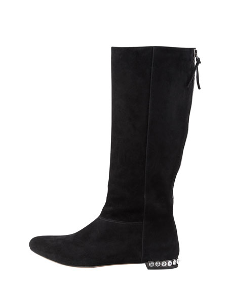 Jeweled-Heel Suede Boot